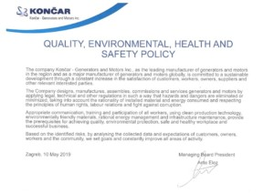 Quality, Environmental, Health and Safety Policy