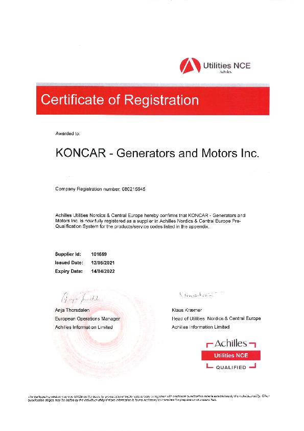 ACHILLES Pre-qualification Certificate